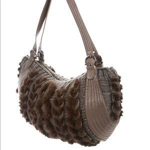 FERRAGAMO Leather & Mink Balena Shoulder Bag